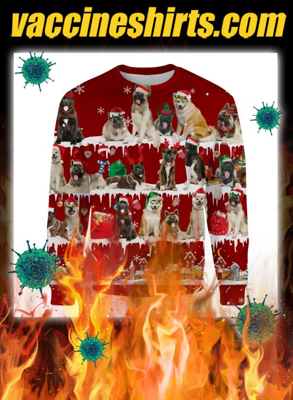 Akita Dog snow christmas ugly sweater
