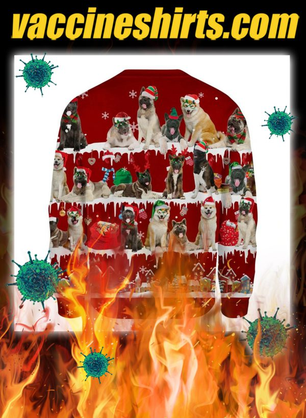 Akita Dog snow christmas ugly sweater- pic 2