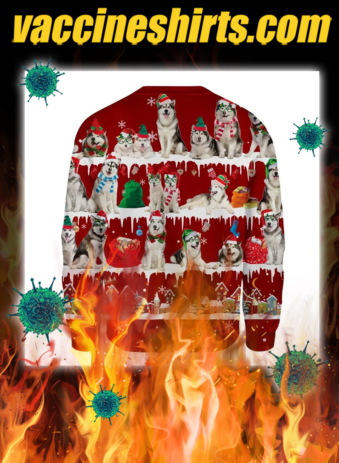 Alaskan Malamute snow christmas ugly sweater- pic 2