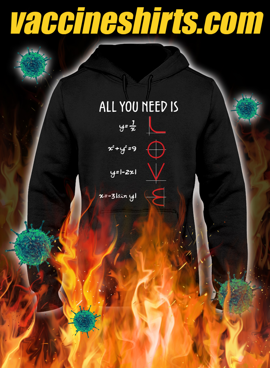 All you need is love math hoodie