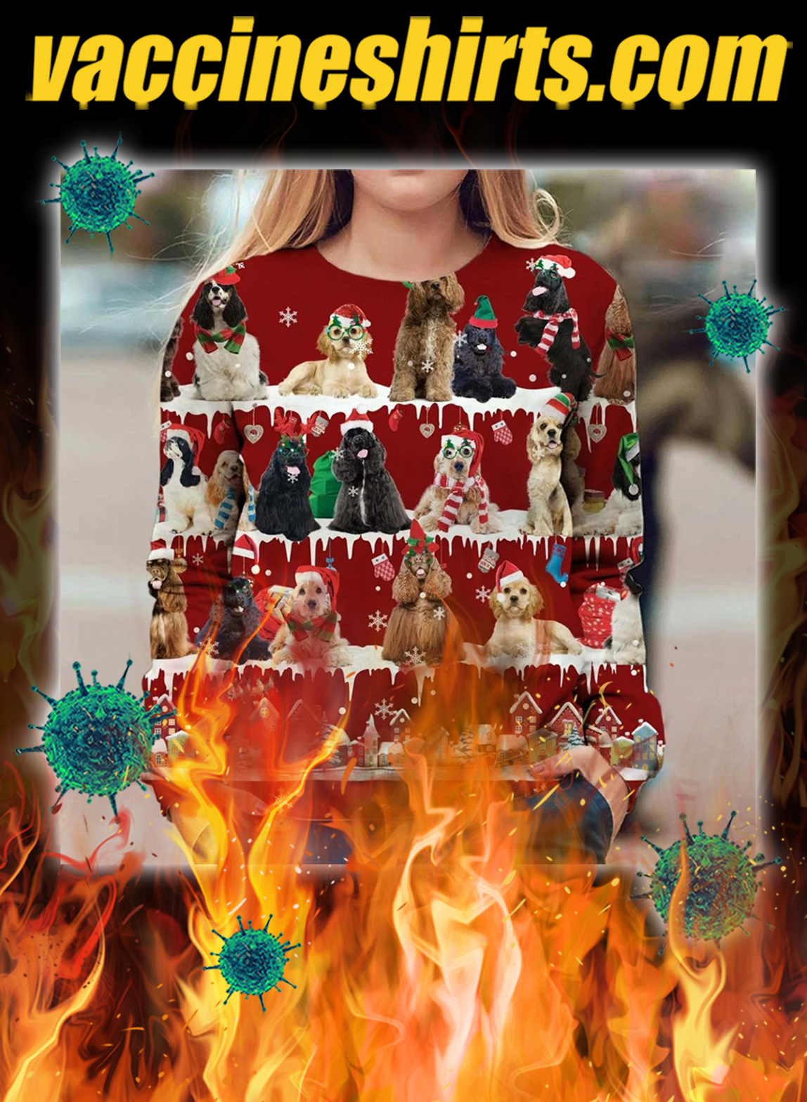 American Cocker Spaniel snow christmas ugly sweater- pic 1