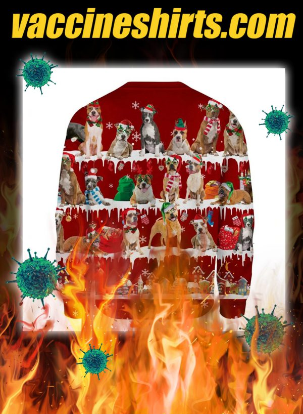 American Staffordshire Terrier snow christmas ugly sweater- pic 2