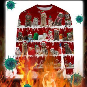 Aussiedoodle Dog snow christmas ugly sweaterAussiedoodle Dog snow christmas ugly sweater
