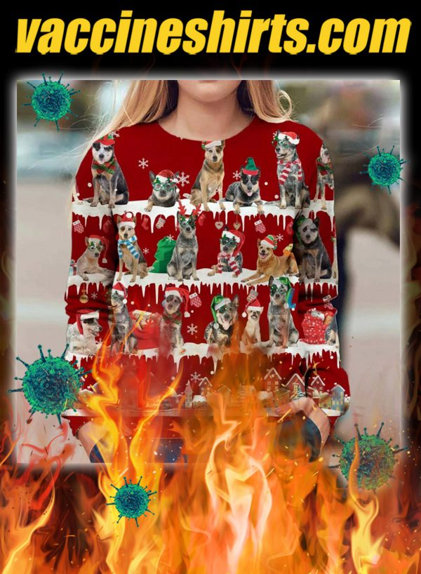 Australian Cattle Dog snow christmas ugly sweater- pic 1
