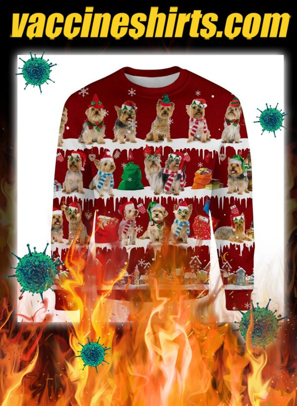 Australian Silky Terrier snow christmas ugly sweater