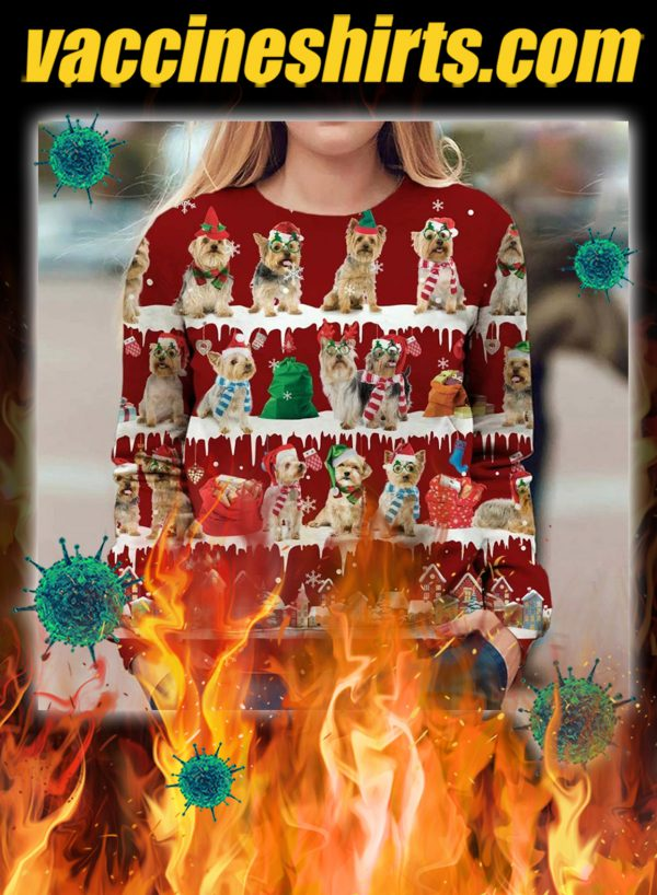 Australian Silky Terrier snow christmas ugly sweater- pic 1