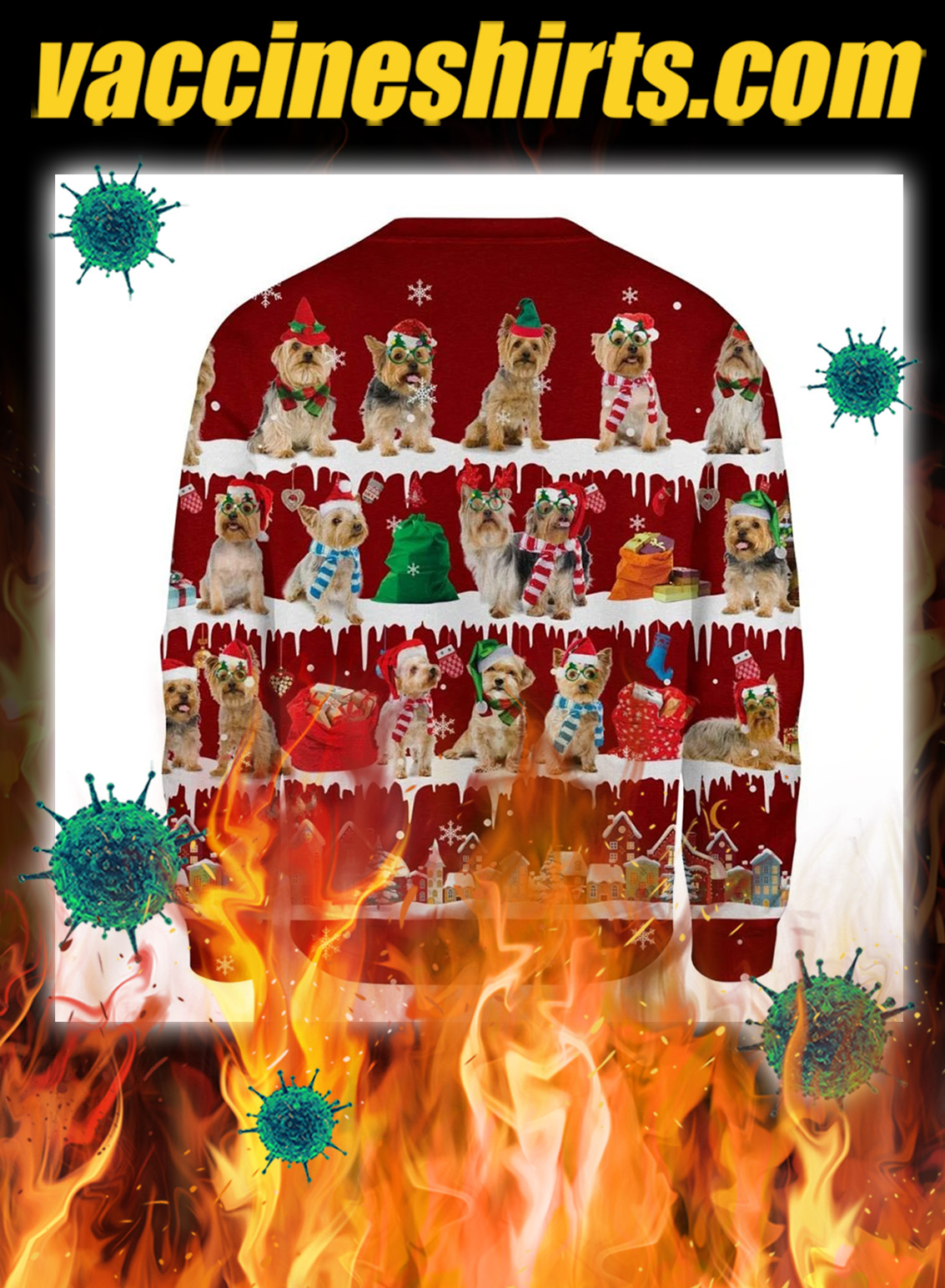 Australian Silky Terrier snow christmas ugly sweater- pic 2