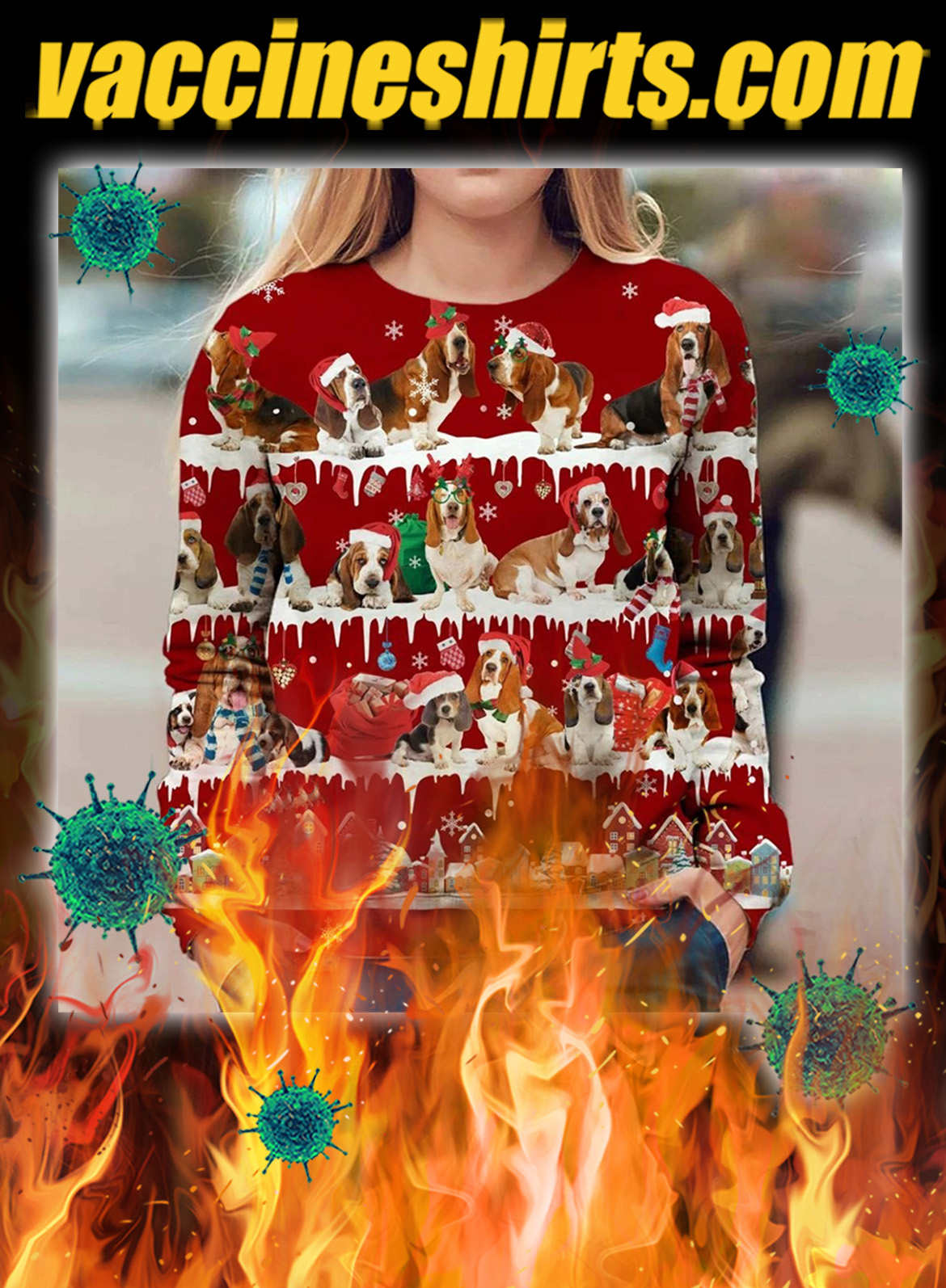 Basset Hound Dog snow christmas ugly sweater- pic 1