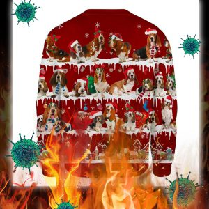 Basset Hound Dog snow christmas ugly sweater- pic 2