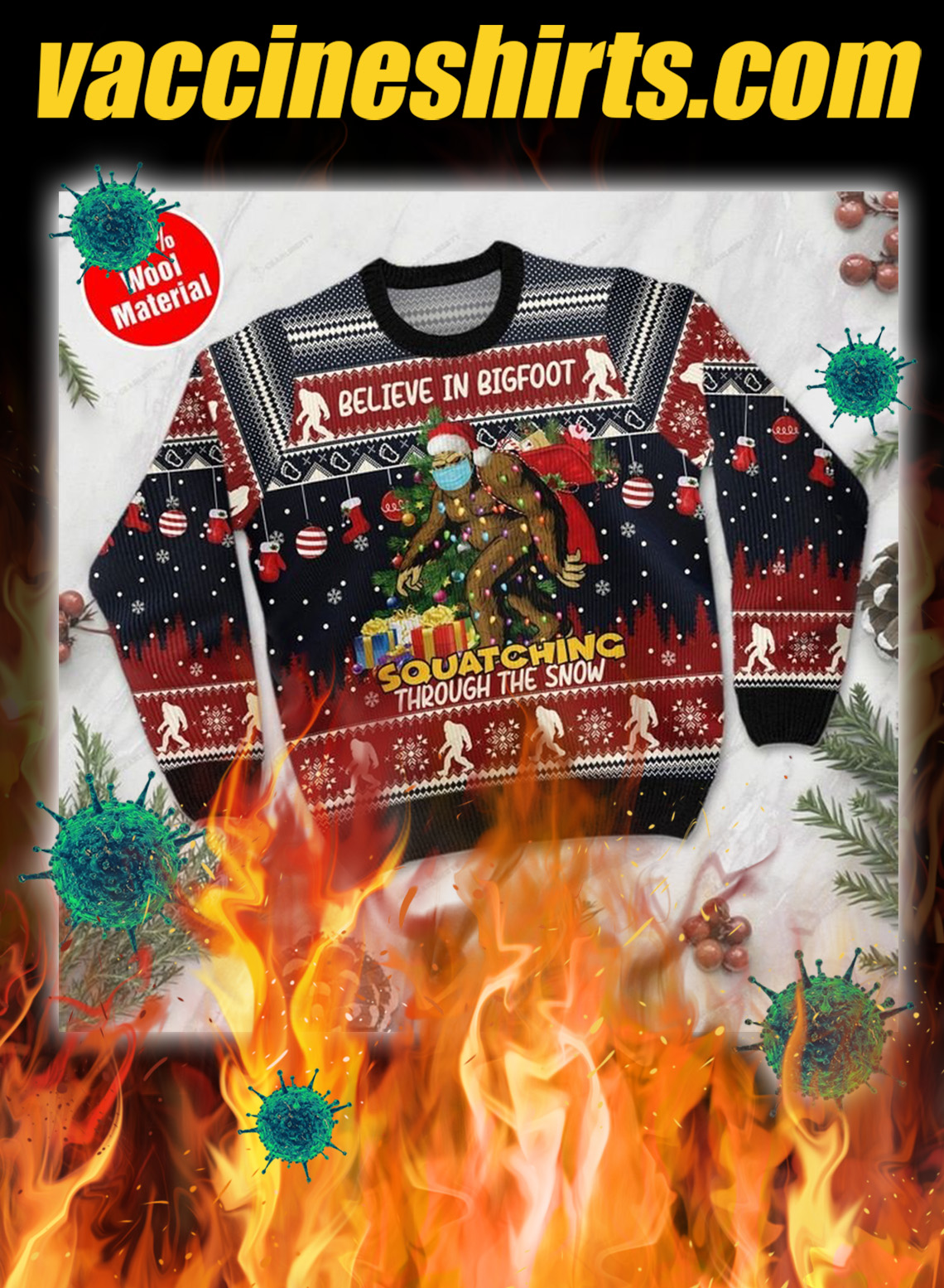 Believe in bigfoot 3d christmas sweater- pic 1