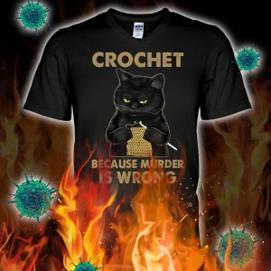 Black cat crochet because murder is wrong v-neck