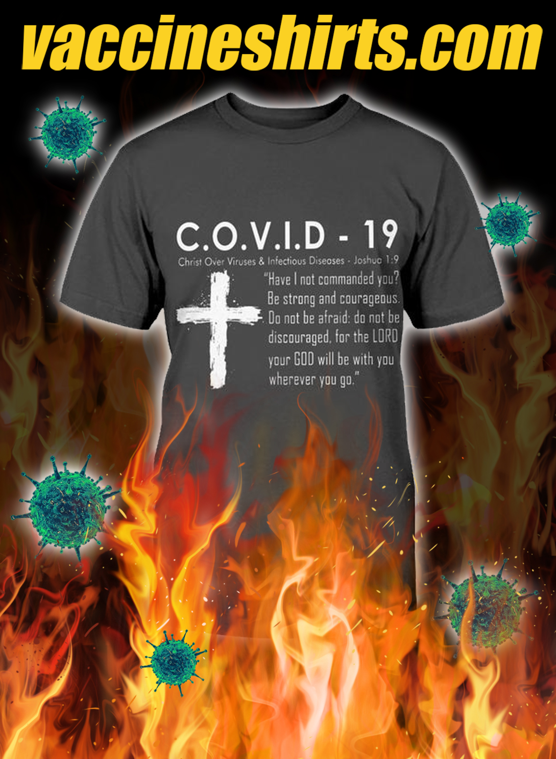 Covid 19 christ over viruses and infectious diseases shirt- pic 1