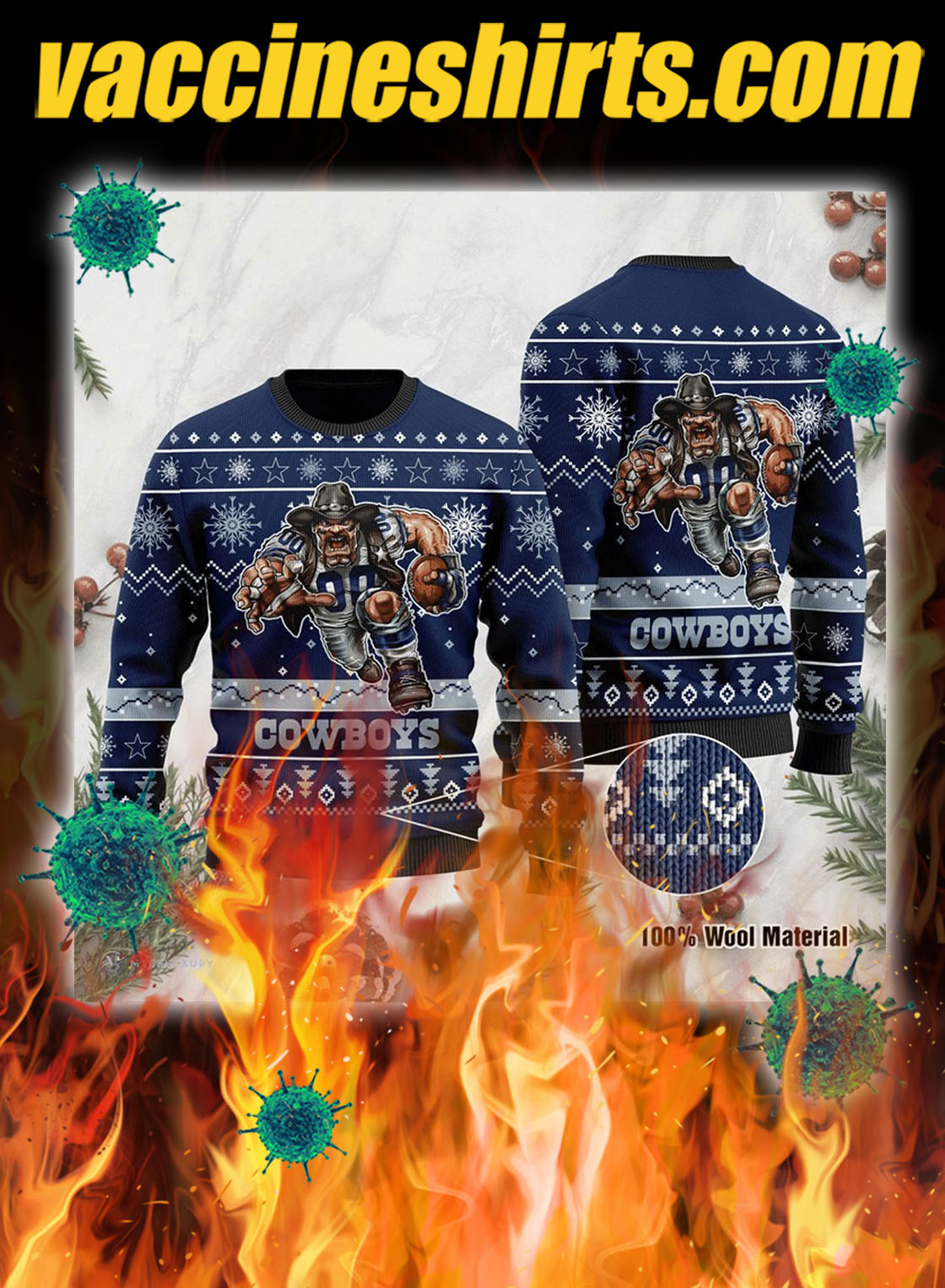 Cowboys 3d christmas sweater - pic 1
