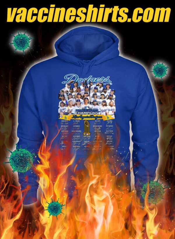 Dodgers world series champions signature hoodie