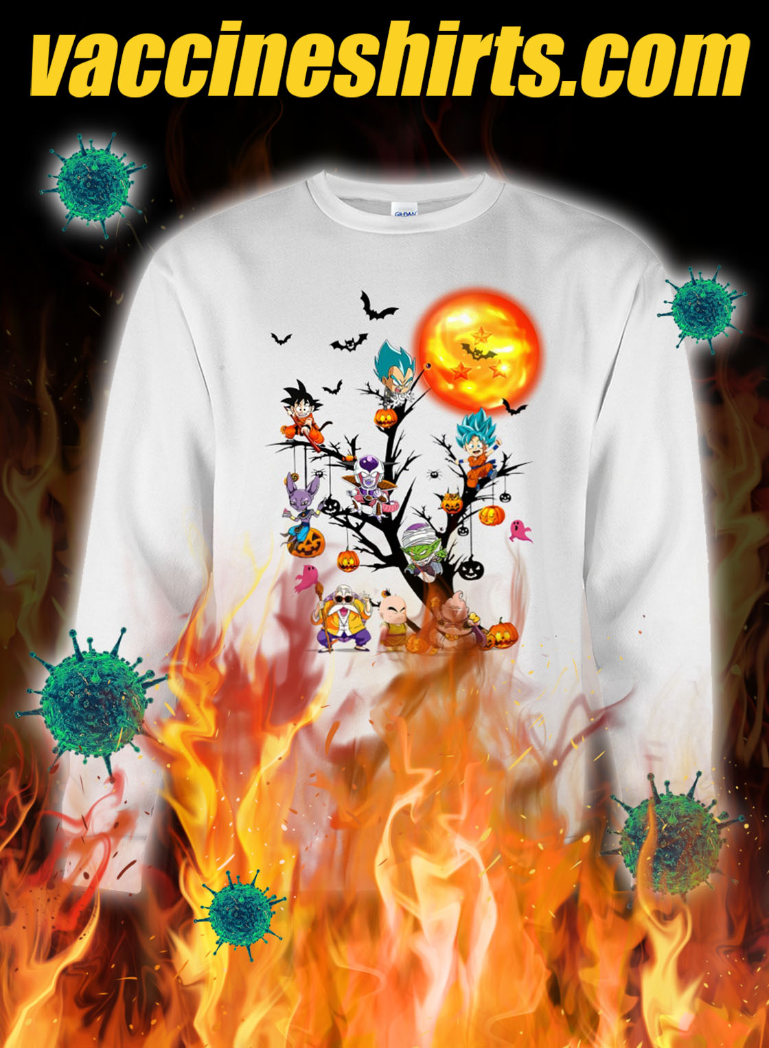 Dragon ball characters tree halloween sweatshirt