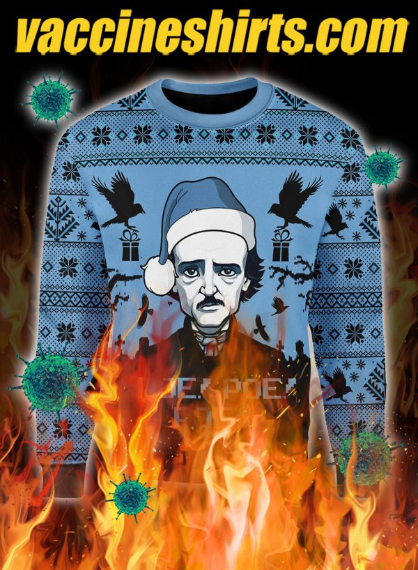 Edgar Allan Poe Poe Poe christmas ugly sweater- pic 1