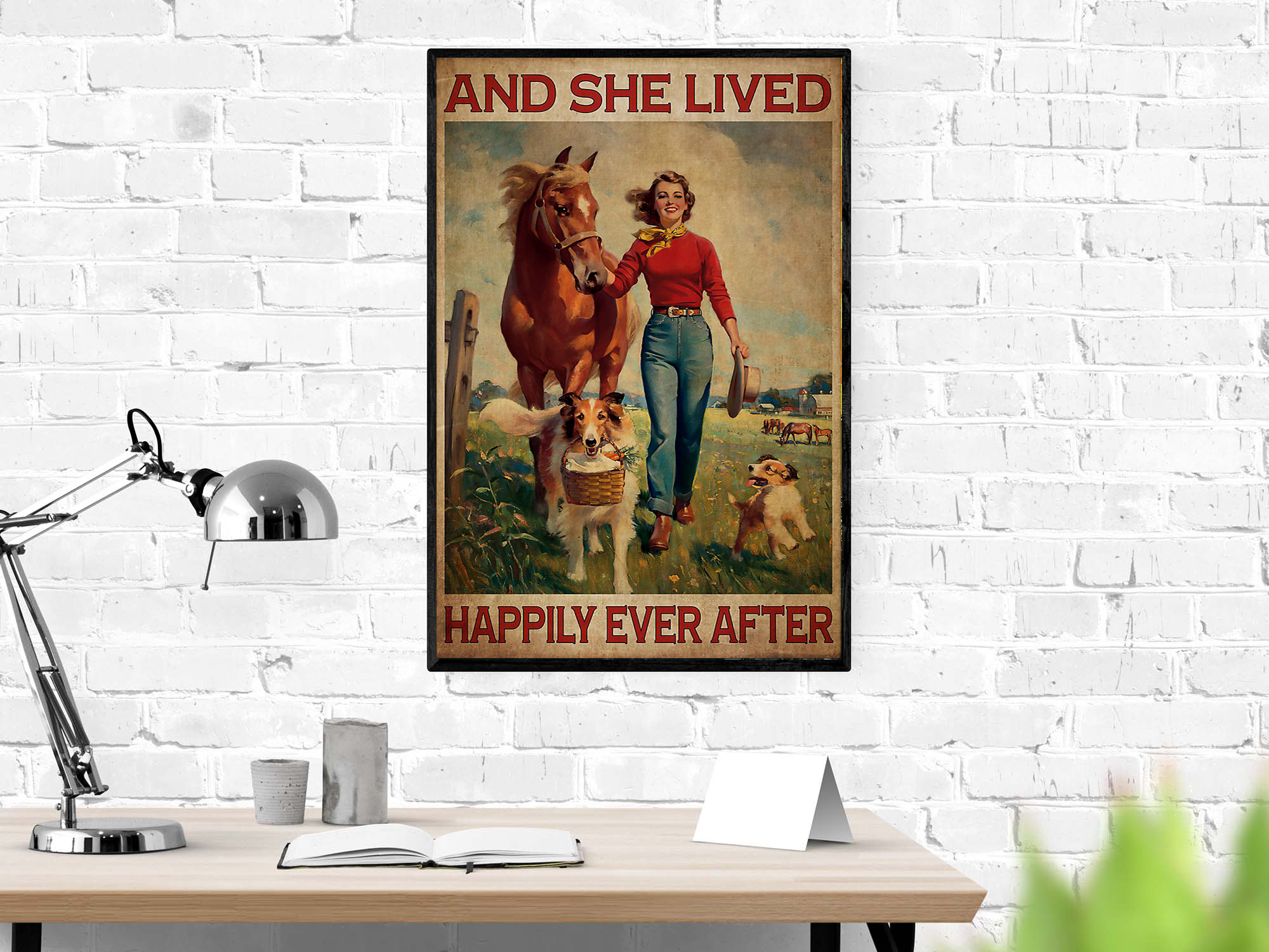 Horse and dog And she lived happily ever after poster