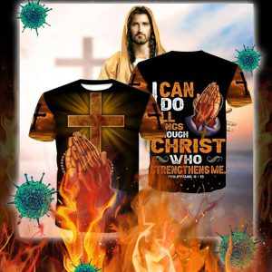 I can do all things through christ hand cross 3d shirt