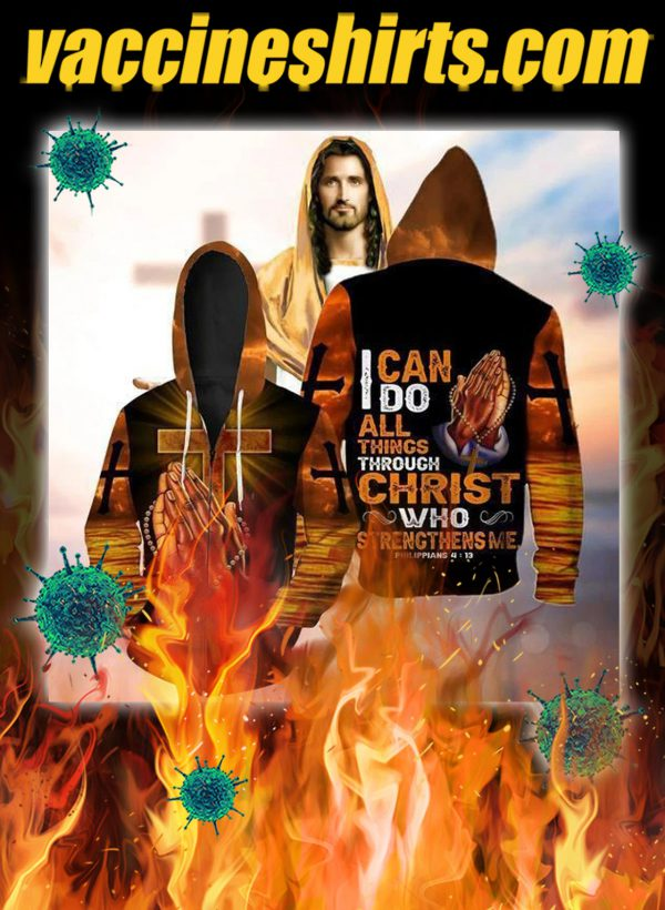 I can do all things through christ hand cross 3d zip hoodie