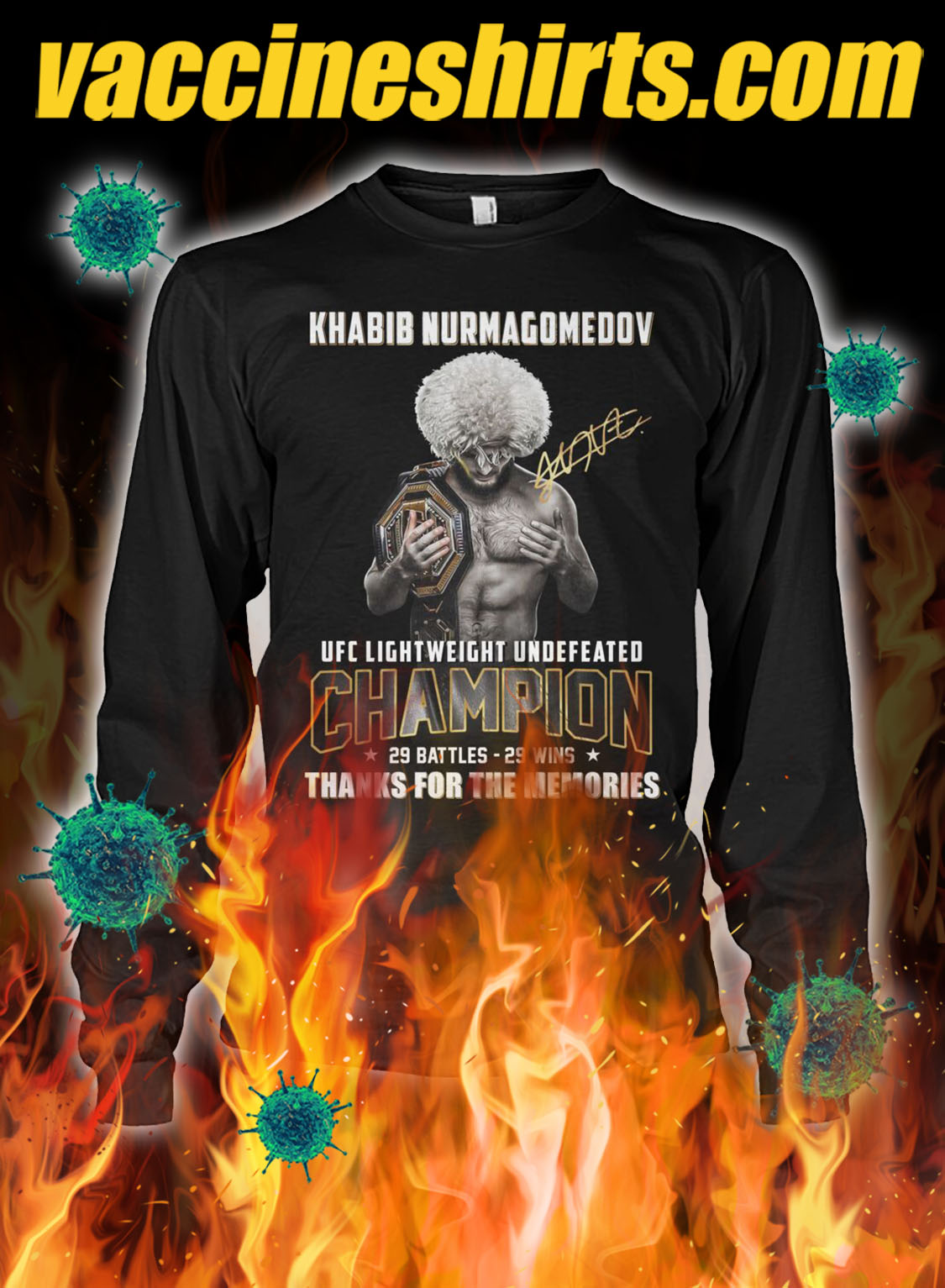 Khabib nurmagomedov ufc lightweight undefeated champion 29 battles 29 wins thanks for the memories longsleeve tee