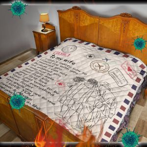 Letter air mail to my wife your husband quilt blanket