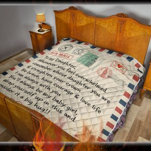 Letter to my daughter whenever you feel overwhelmed quilt blanket 1