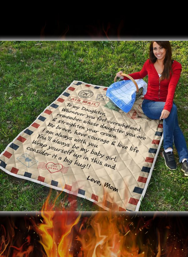 Letter to my daughter whenever you feel overwhelmed quilt blanket