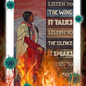 Native girl listen to the wind poster