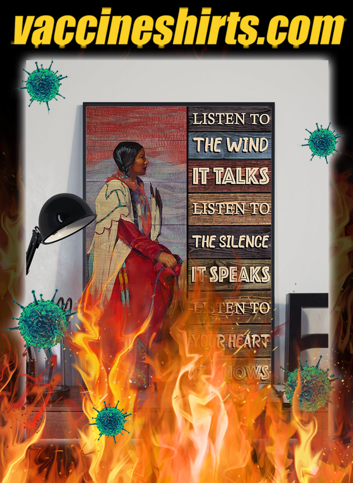 Native girl listen to the wind poster- A3