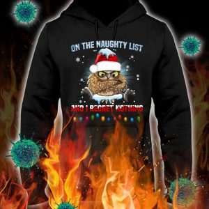 Owl on the naughty list and i regret nothing christmas hoodie