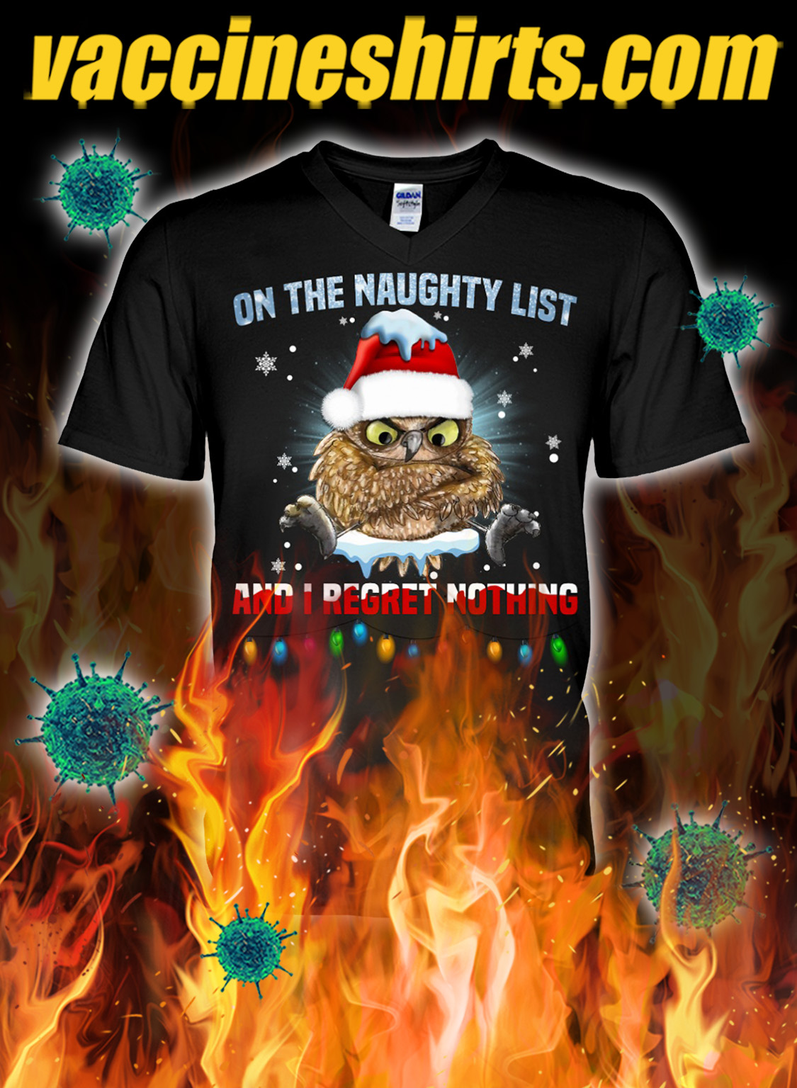 Owl on the naughty list and i regret nothing christmas v-neck