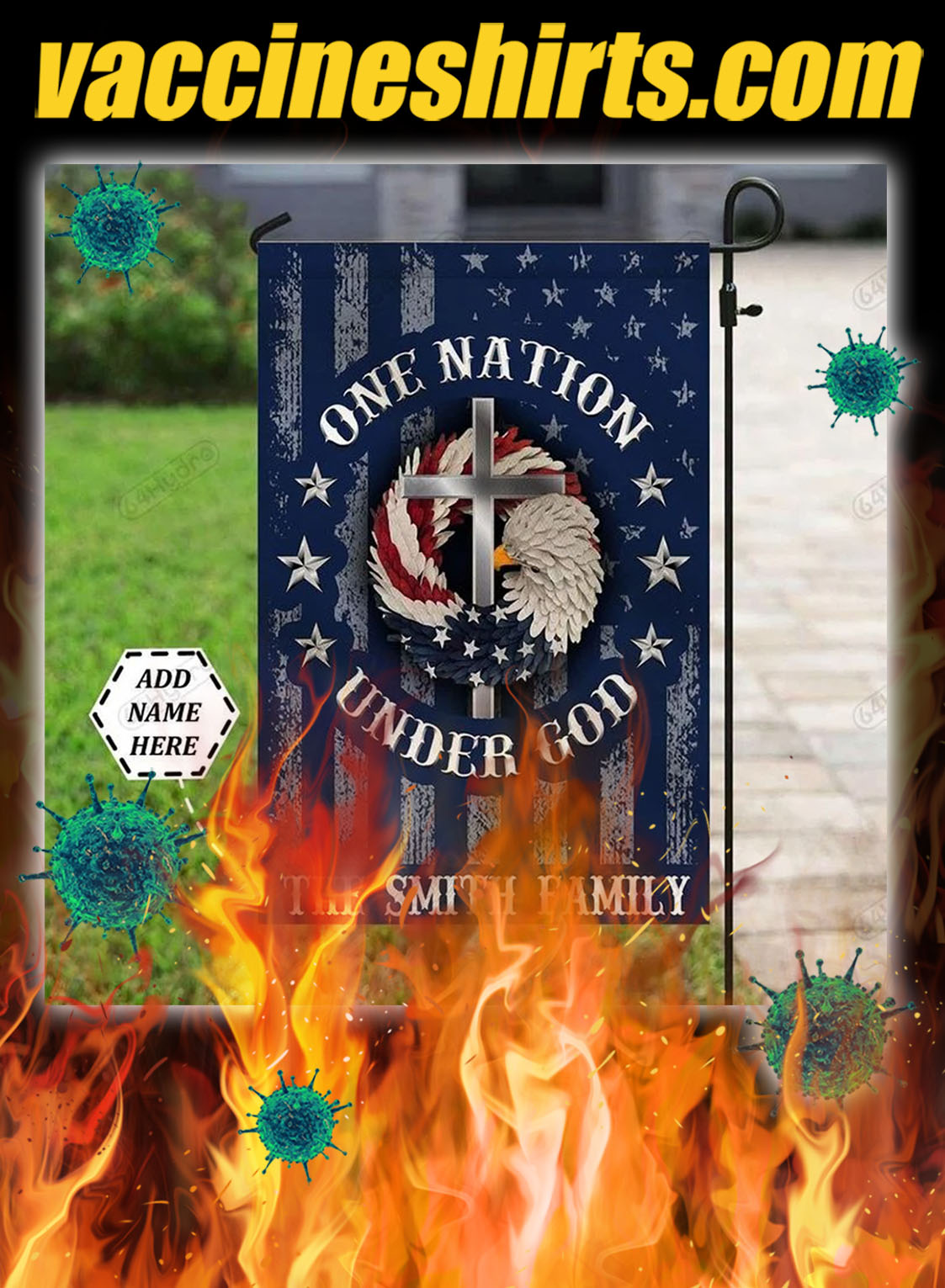 Personalized one nation under god flag- pic 1