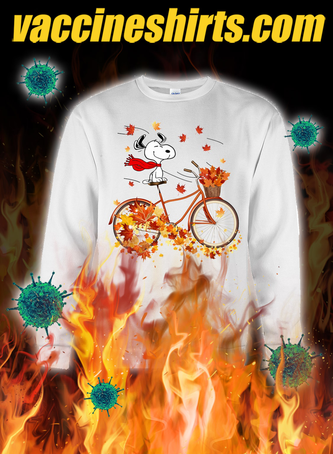 Snoopy bicycle autumn sweatshirt