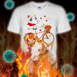 Snoopy bicycle autumn v-neck