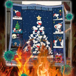 Snoopy christmas tree quilt blanket - king