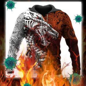 Tattoo dragon 3d full printing hoodie