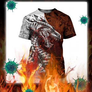 Tattoo dragon 3d full printing t-shirt