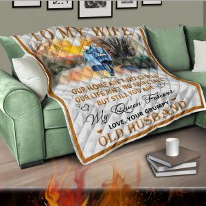 To my wife our home ain't no castle quilt blanket 2