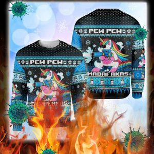 Unicorn pew pew madafakas ugly christmas sweater