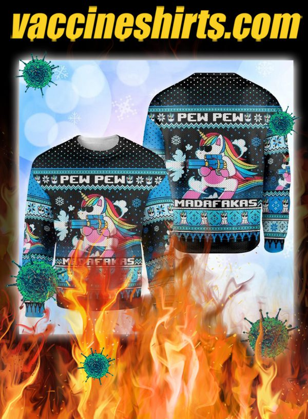Unicorn pew pew madafakas ugly christmas sweater - pic 1