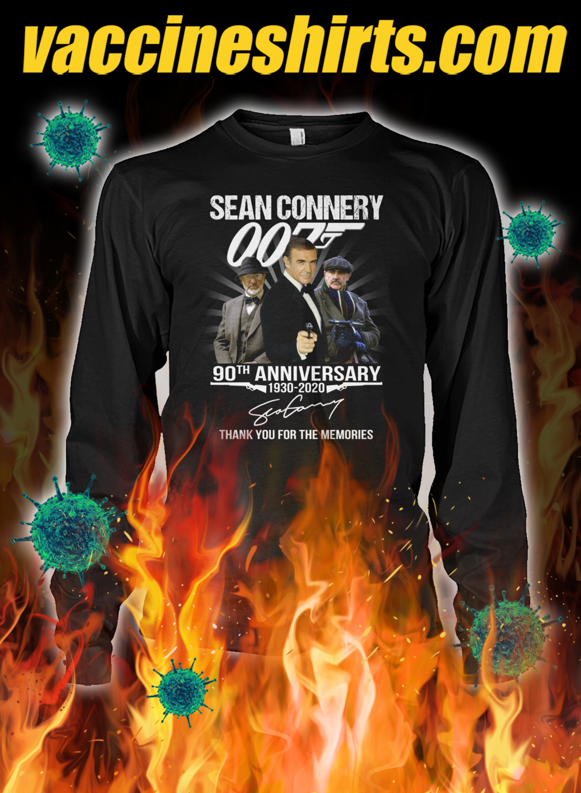 007 Sean connery 90th anniversary thank you for the memories longsleeve tee
