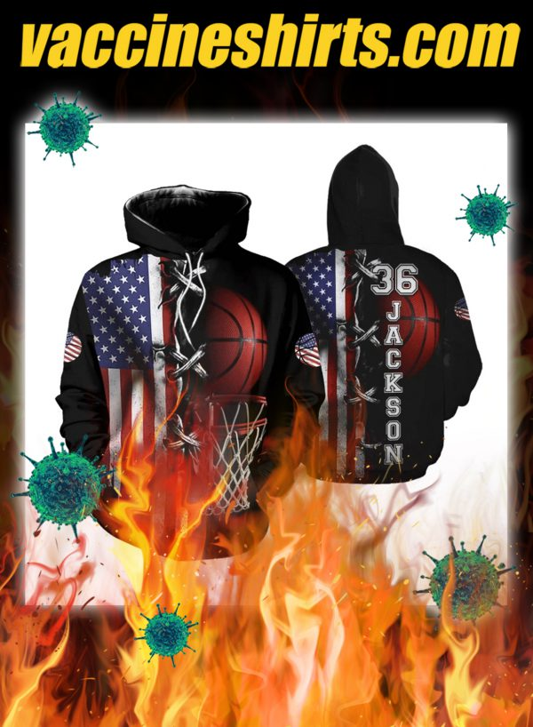 America basketball personalize customized number and name 3d hoodie - pic 1