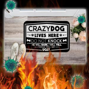 Crazy dogs live here do not knock doormat- pic 1