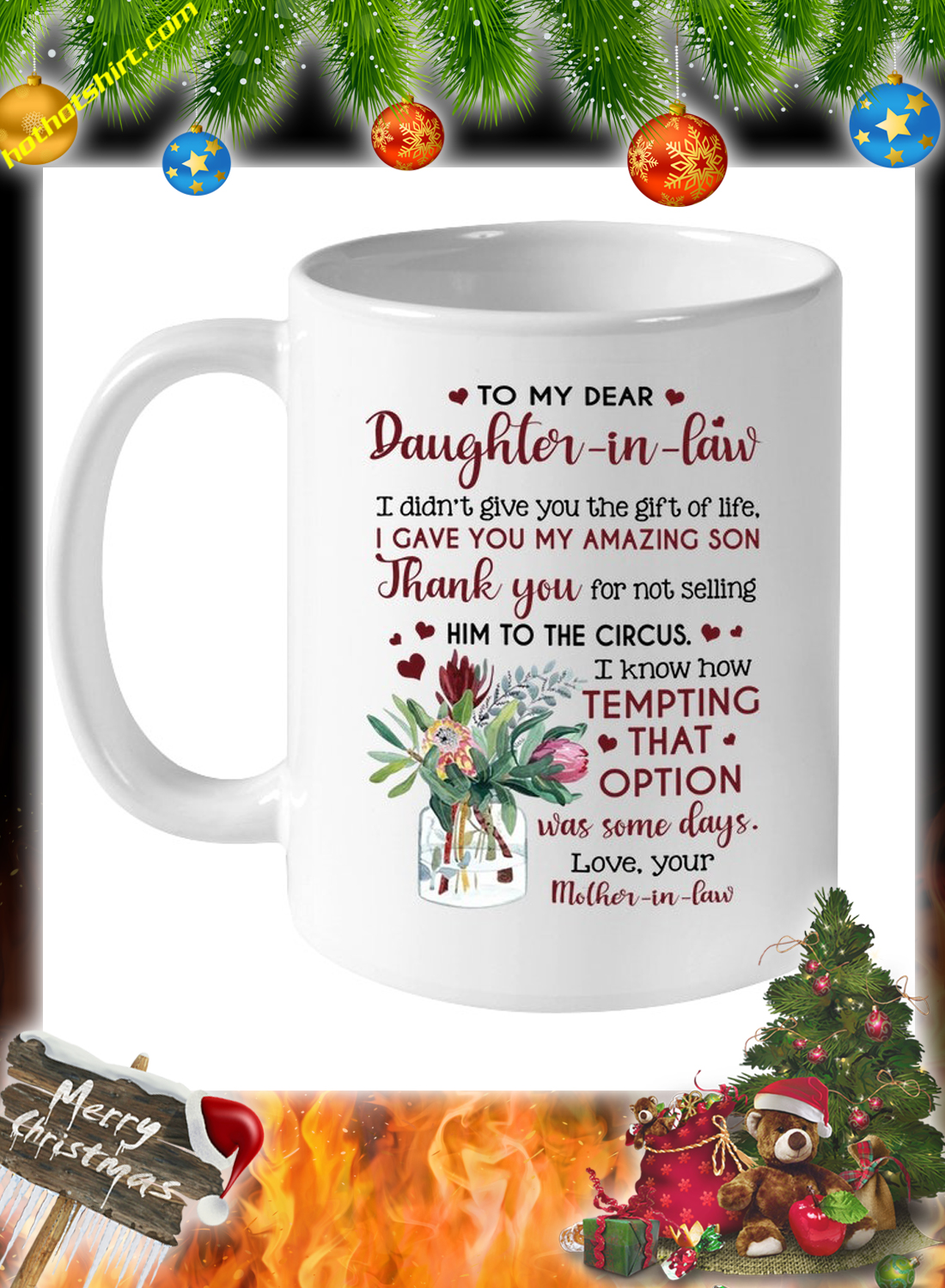 Flower vase To my dear daughter in law mother in law mug 1