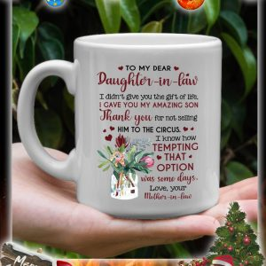 Flower vase To my dear daughter in law mother in law mug