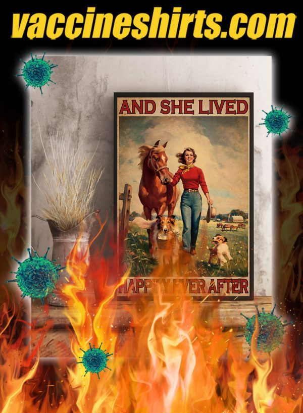 Girl horse and dog And she lived happily ever after poster- A3