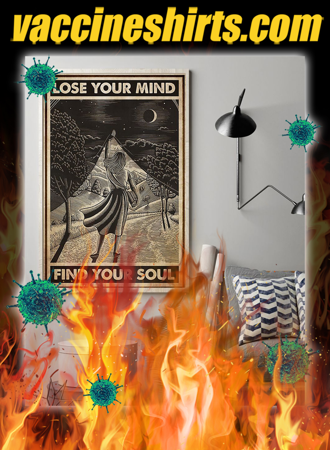 Girl with book lose your mind find your soul poster- A1