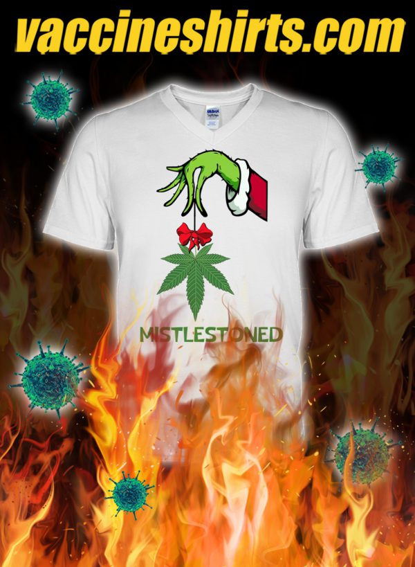 Grinch hand weed cannabis mistlestoned v-neck