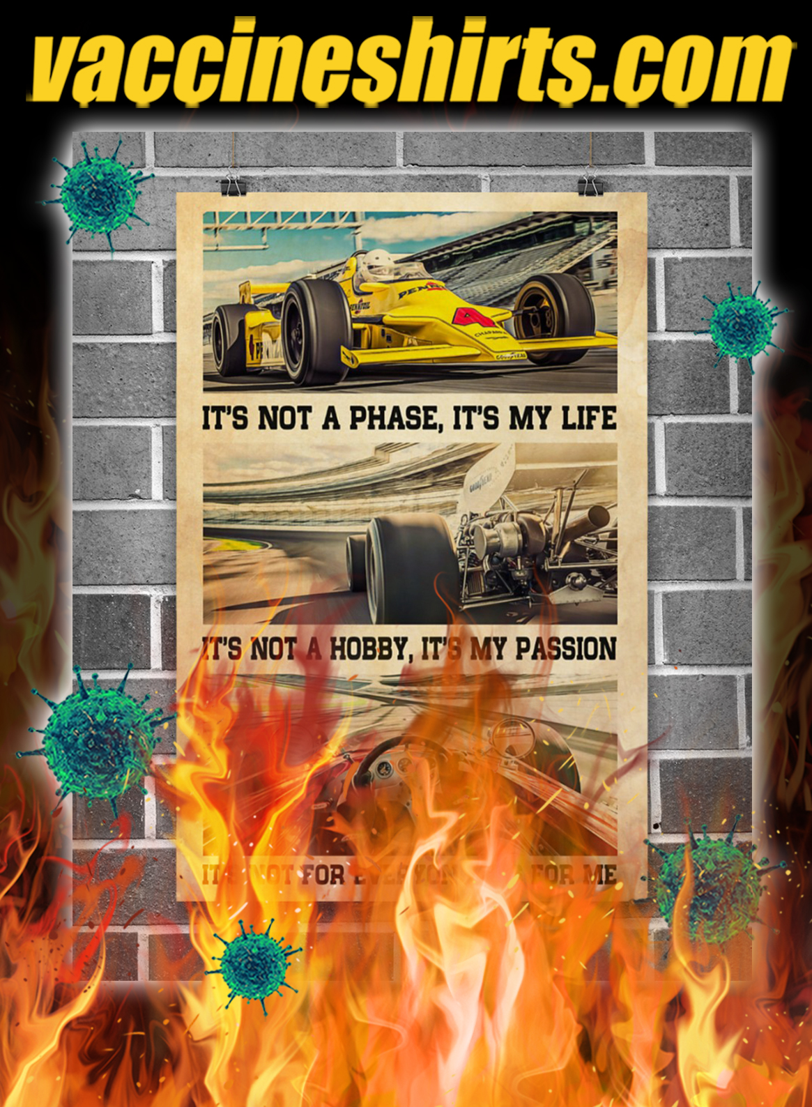 Indianapolis Car It's Not A Phase It's My Life Poster- A4