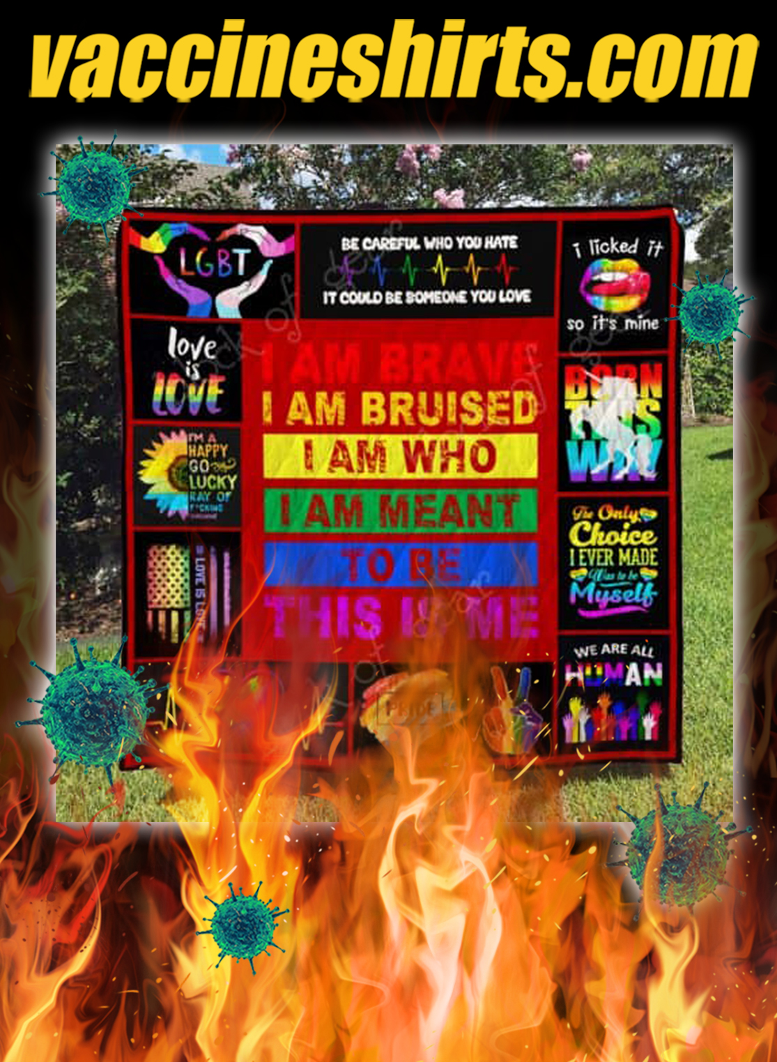 LGBT pride i am brave this is me quilt blanket- queen